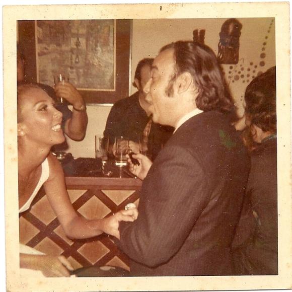 Maestro Aldemaro Romero and me celebrating the success of Onda Nueva in ALejandro's Bar, (Penthouse)