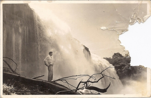 Anatoly on his Island in front of the main land Canaima campamento. Were later that water took him to his dead..
